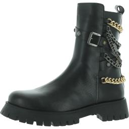 Steve Madden Womens Chain Leather Round Toe Combat Boots