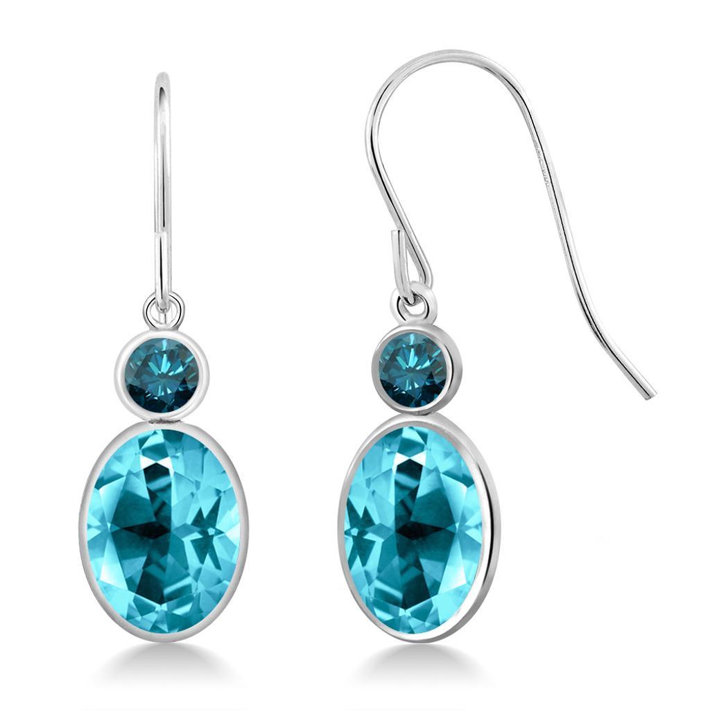 14K White Gold Diamond Earrings Set with Oval Paraiba Topaz from Swarovski