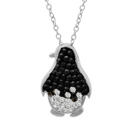 Black and White Penguin Pendant-Necklace made with Swarovski Crystals