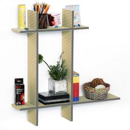 Care Free-BLeather Cross Type Shelf / Bookshelve / Floating Shelve (4 pcs)