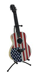 American Flag Acoustic Guitar Coin Bank Piggy Bank w/Stand