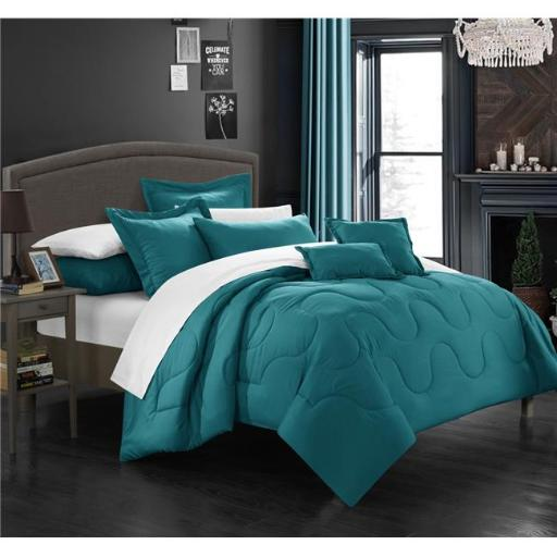 Chic Home CS3923-BIB-US 11 Piece Demaria Bedding Basics Down Alternative Solid Queen Comforter Set, Teal with Sheet Set