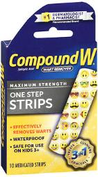 Compound W Wart Remover Maximum Strength One Step Medicated Strips - 10 Ct