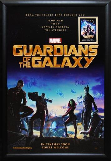 Guardians of the Galaxy - Signed Movie Poster in Wood Frame with COA