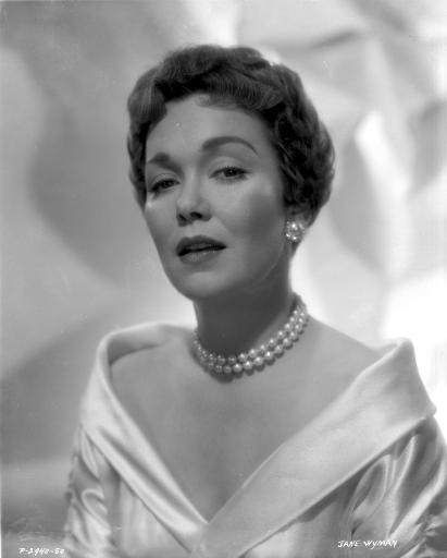 Jane Wyman Portrait in White Silk V-Neck Long Sleeve Shoulder Dress and Pearl Necklace with Pearl Earring Photo Print