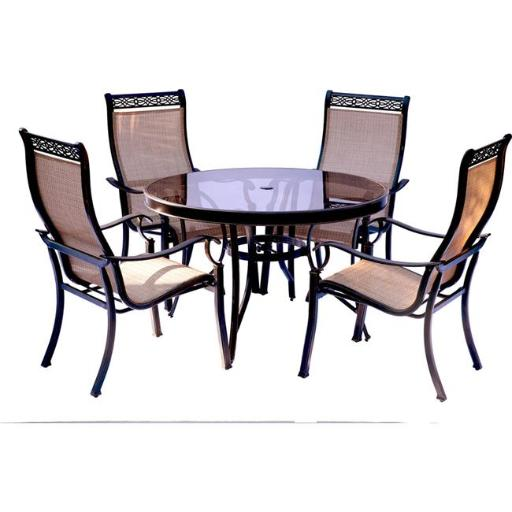 Hanover MONDN5PCG Monaco Dining Set with Glass Table - 5 Piece