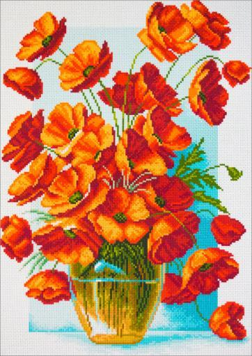 Collection D'art Stamped Cross Stitch Kit 37X49cm-Poppies In Vase XE3ZYTDSP91ANFH4