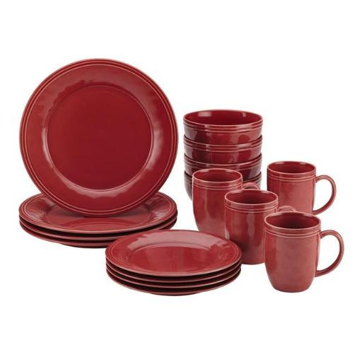 Rachael Ray 55095 Cucina Dinnerware 16-Piece Stoneware Dinnerware Set, Pumpkin Orange