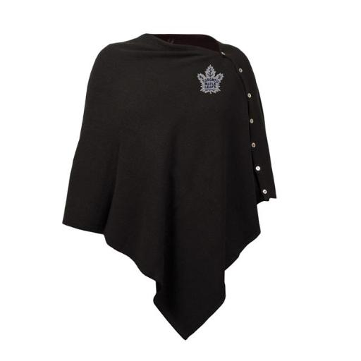 Little Earth 500653-LEAF NHL Toronto Maple Leafs Black Out Button Poncho