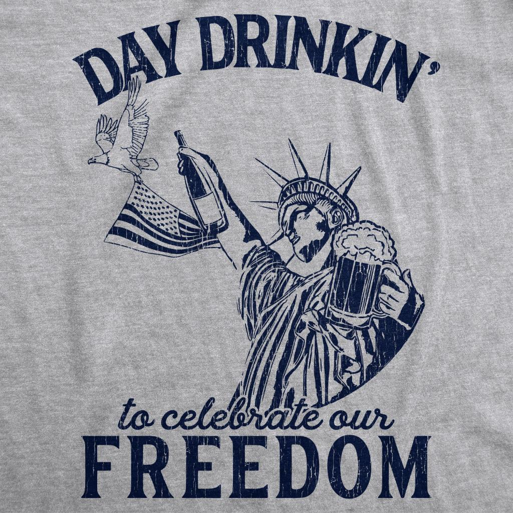 Mens Day Drinkin To Celebrate Our Freedom Tshirt Funny 4th Of July Tee