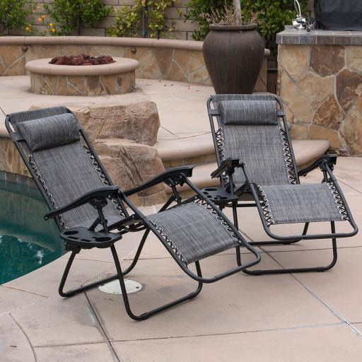 Set of 2 Adjustable Zero Gravity Lounge Chair Recliners for Patio Pool w/Cup Holders - Gray