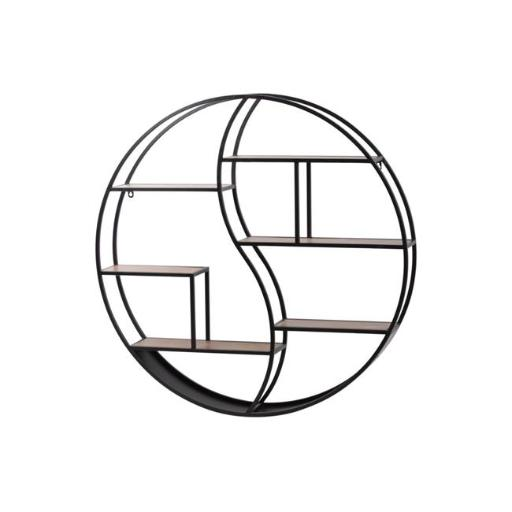 Urban Trends Collection 58800 Metal Round Wall Shelf with 6 Wooden Shelves - Black, Matte - 31.75 x 5 x 31.75 in.