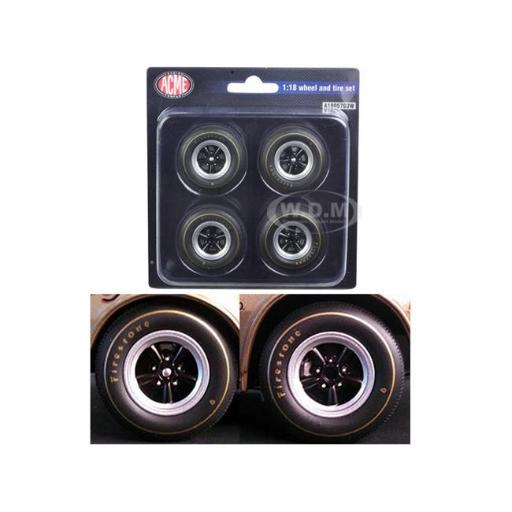 Acme A1805703W 1St 1967 Chevrolet Camaro Z-28 Race Wheels & Tires for 1-18 Scale - Set of 4
