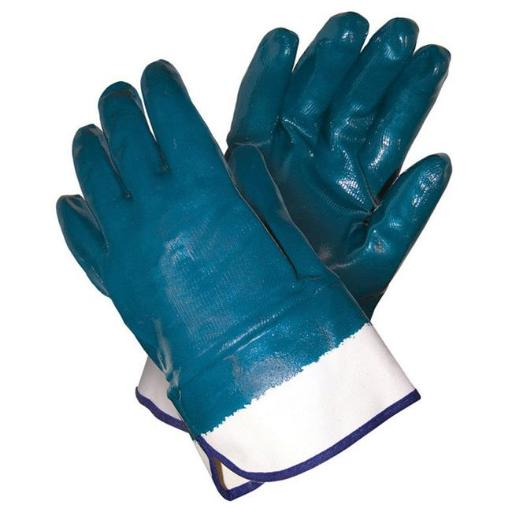 Mens Large Nitrile Coated Work Gloves, Blue