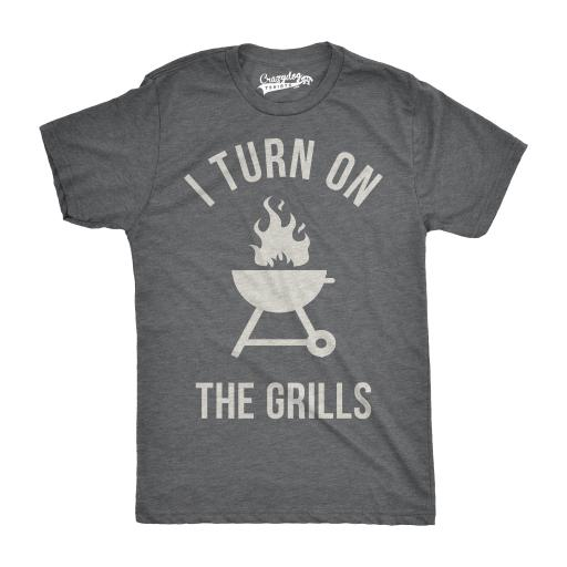 Mens I Turn On The Grills Funny Grilling Summertime Camping Food T shirt