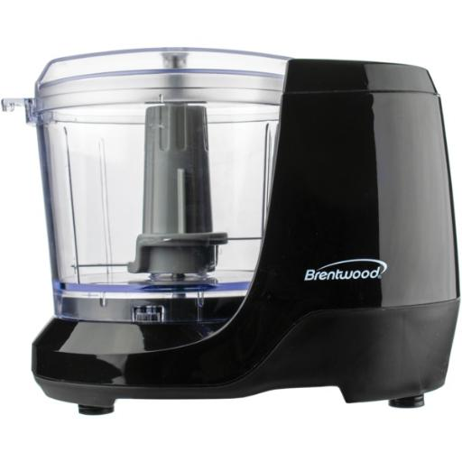 Brentwood appliances mc-109bk 1.5-cup mini food chopper (black) 100 watts .Safe and simple operation .Stainless steel blades .Compact design .Safety lock bowl .Antislip feet .Dishwasher-safe parts .BPA-free .cETL(R) listed.1-year manufacturer warranty .Includes motor, work bowl, lid, blades, and instruction manual .Black.1.5-Cup Mini Food Chopper (Black)