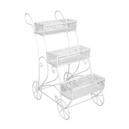 Benzara BM158443 38.5 x 35 x 18.5 in. Captivating Modern Style 3 Tier Plant Cart, White