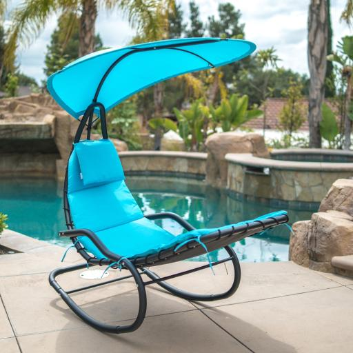 BELLEZE Hanging Rocking Lounge Chair Sun Shade Chaise Chair Powder Coated Arc Frame Padded Cushion Patio, Blue