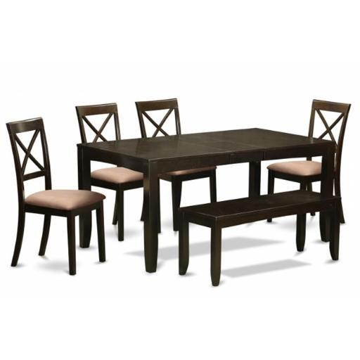 East West Furniture LYBO6-CAP-C 6 Piece Kitchen Table With Bench-Table With Leaf 4 Kitchen Dining Chairs and Bench