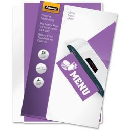 Fellowes, inc. 52011 laminating pouches menu 3mil 25pk,dds must be ordered in multiples of case qty=2
