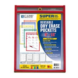 C-Line Products Inc CLI40610 C Line Reusable 10Pk 9X12 Dry Erase Pockets Assorted Primary