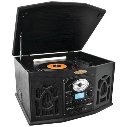 Home Bluetooth Retro Vintage Classic Style Turntable Vinyl Record Players with Vinyl-to-MP3 Recording - Black