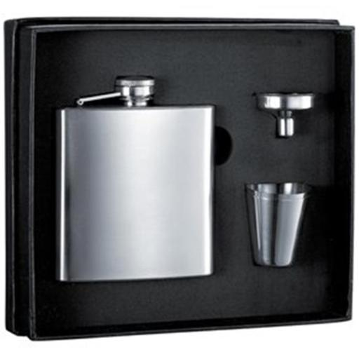 Visol VSET5002B 6 oz Stainless Steel Flask Gift Set With Two Shot Cups & Funnel