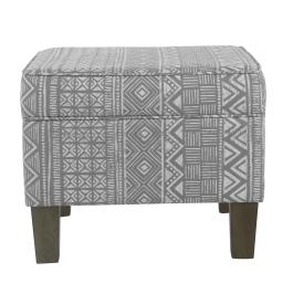 Wooden Ottoman with Tribal Patterned Fabric Upholstery and Hidden Storage, Gray
