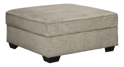 Wooden Ottoman with Hidden Storage and Tapered Block Legs, Gray