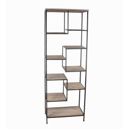 Wood and Metal Bakers Rack with 9 Open Shelves, Brown and Black