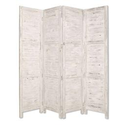 Wooden 4 Panel Foldable Floor Screen with Textured Panels, White
