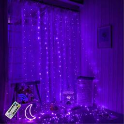 300 LEDs Purple Halloween Curtain String LightsChristmas 98ftx98ft USB Powered Copper Wire Fairy Window Lights Remote Timer Control 8 Modes Twinkle Lights for Kids Bedroom Wedding Wall Decorations