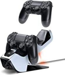 Bionik Power Stand PS4 Controller Charger: Compatible with PlayStation 4, Store and Fast Charge 2 Wireless DualShocks, Back Lit Status Indicators, Power Adapter Included