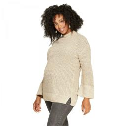Isabel Maternity Cuff Sleeve Pullover Sweater X-Small Tan