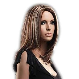 GOOACTION Ladies Medium Length Natural Straight Brown with Blonde Highlights Wig Middle Parting Heat Resistant Synthetic Cosplay Hair Mixed Color Wigs for Women