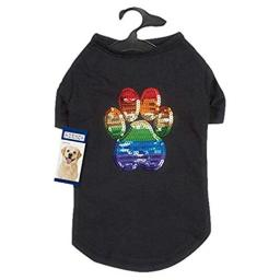 Casual Canine Puppy Pride Sequin UPF40 Tee Shirt for Dogs, X-Small, Black