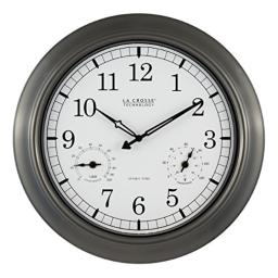 La Crosse Technology WT-3181P 18 Inch Indoor/Outdoor Thermometer & Hygrometer Metal Wall Clock, Pewter
