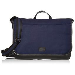 Ben Sherman Cotton Canvas Flapover Laptop Messenger Bag Navy One Size
