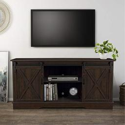 BELLEZE Modern Farmhouse Style 58 Inch TV Stand with Sliding Barn Door Console Table Storage, Espresso
