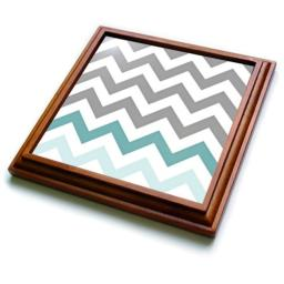 "3dRose Grey Chevron with Mint Turquoise Zig Zag Accent Gray Zigzag Pattern Trivet with Ceramic Tile, 8 by 8"", Brown"
