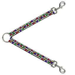Buckle Down Dog Leash Splitter Houndstooth Black White Multi Neon 1 Foot Long 1 Inch Wide