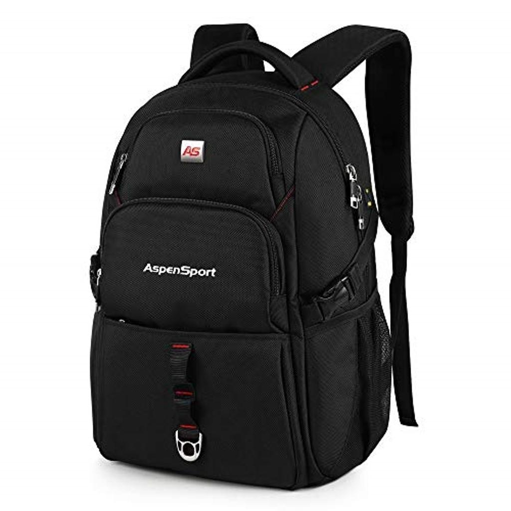 ASPENSPORT Laptop Backpack fit 15.6 inch Laptop Book Bag School Backpack for College Students - Durable Water Repellent - Travel Computer Bag 28L - with Luggage Strap Black