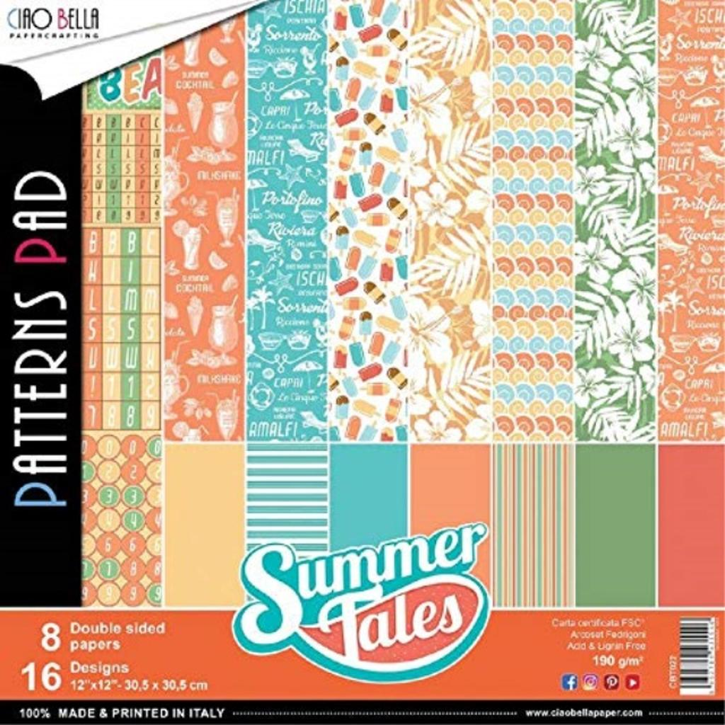 """Ciao Bella CBT022 Summer Tales Double-Sided Patterns Paper Pad 12""""X12"""" 8/Pkg"""