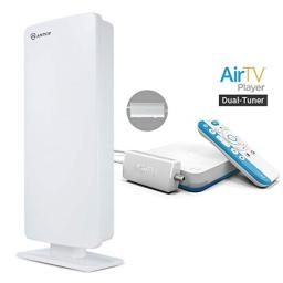 AirTV Player with Dual-Tuner Adapater and ANTOP OutdoorIndoor HDTV Antenna 4K Sling TV Integrated Media Streamer and live local channels with NO MONTHLY FEES Supports DVR capabilities&Voice Capable