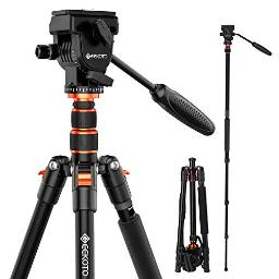 Geekoto Video Tripod Fluid Head,Professional Camera Tripod For Dslr,Monopod Aluminum 77 For Video Camcorder Canon Nikon Sony With 14 Screws Fluid Drag Pan Head,Load Capacity Up To 20 Pounds