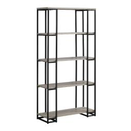 """Offex 62""""H Contemporary High Bookcase with Black Satin Metal Frame, Dark Taupe - 50 lbs"""
