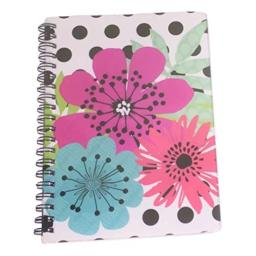Carolina Pad Studio C College Ruled Poly Cover Spiral Notebook, Sugarland (Jumbo Flower Heads on Polka Dots, 5 Inches x 7 Inches, 80 Sheets, 160 Pages)