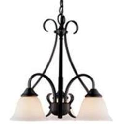 Boston Harbor F3-3C3L 8275638 Dimmable Chandelier, (3) 60/13 W Medium A19/Cfl Lamp, Chain Hanging, Glass Shade
