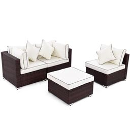 4 PCS Wicker Rattan Sofa Furniture Set