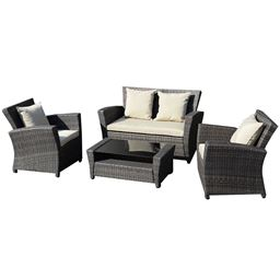 4 pcs Wicker Rattan Patio Sofa Cushioned Set